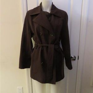 ANDREW MARC BROWN BELTED TRENCH COAT - SIZE M